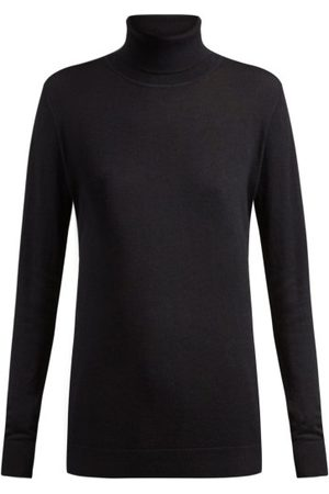 Raey Roll-neck Fine-knit Cashmere Sweater - Womens - Navy