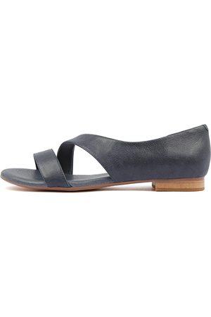 Django & Juliette Purl Navy Sandals Womens Shoes Casual Sandals Flat Sandals