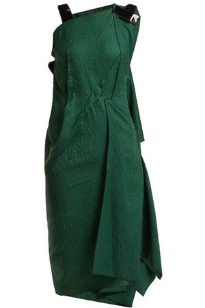 Roland Mouret Cedrela Silk Blend Jacquard Asymmetric Midi Dress - Womens