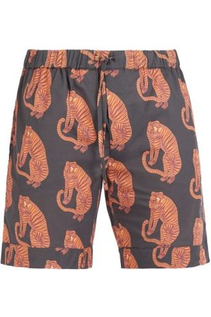 Desmond & Dempsey Men Pyjamas - Tiger Printed Pyjama Shorts - Mens