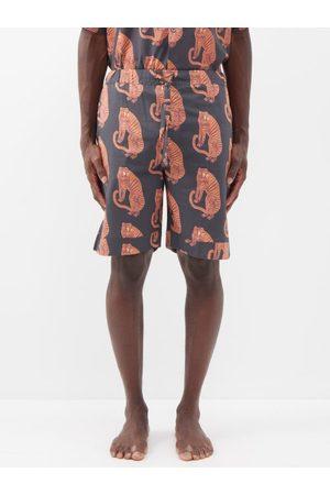 Desmond & Dempsey Tiger Printed Pyjama Shorts - Mens