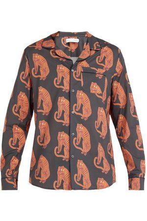 Desmond & Dempsey Sansindo Tiger Print Cotton Pyjama Shirt - Mens