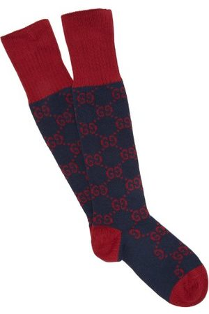 Gucci Gg Intarsia Cotton Blend Socks - Mens - Navy