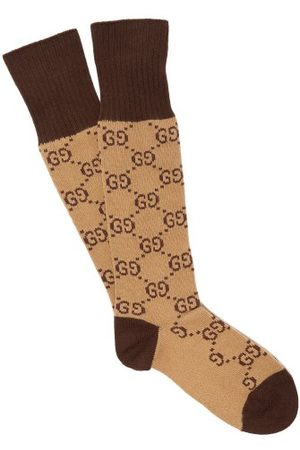 Gucci Gg Intarsia Cotton Blend Socks - Mens