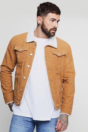 Boohoo Men Winter Jackets - Mens Tan Cord Jacket With Borg Collar