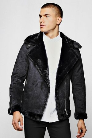 Boohoo Mens Faux Fur Lined Suede Aviator