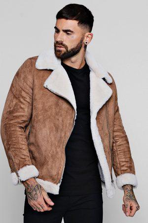 Boohoo Men Leather Jackets - Mens Tan Faux Fur Lined Suede Aviator Jacket