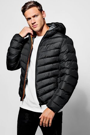 Boohoo Mens Quilted Zip Through Jacket With Hood
