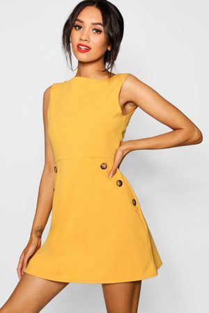 Boohoo Women Dresses - Petite Slash Neck Mock Horn Button Shift Dress