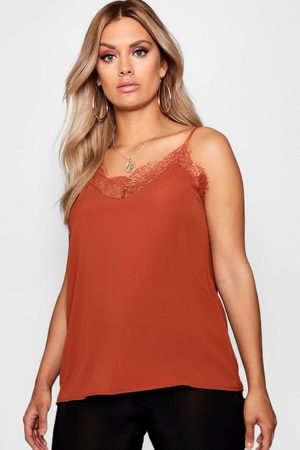 Boohoo Plus Lace Detail Woven Cami- Tobacco
