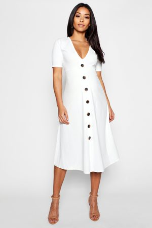 Boohoo Maternity Horn Button A Line Midi Dress