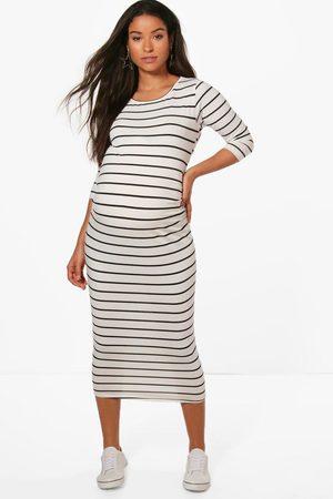 Boohoo Maternity Striped 3/4 Sleeved Midi Dress