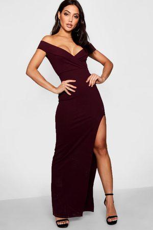 boohoo Wrap Off The Shoulder Maxi Bridesmaid Dress- Berry