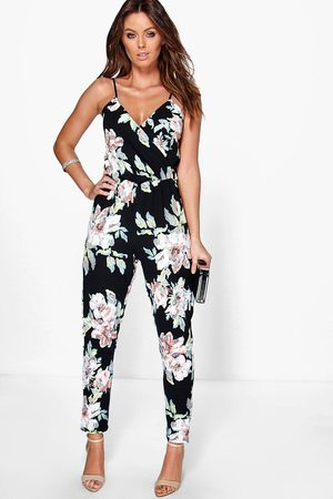 Boohoo Floral Print Cami Wrap Strappy Jumpsuit- Multi
