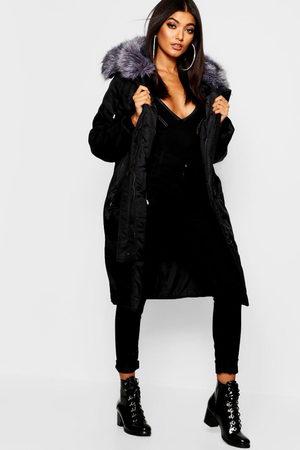 Boohoo Oversized Faux Fur Fly Hood Luxe Parka