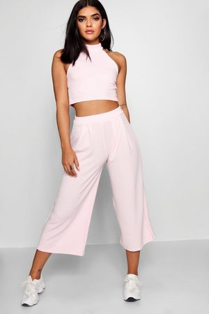 Boohoo High Neck Crop And Culotte Co-Ord Set- Soft