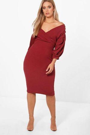 Boohoo Women Party Dresses - Plus Off The Shoulder Wrap Midi Dress