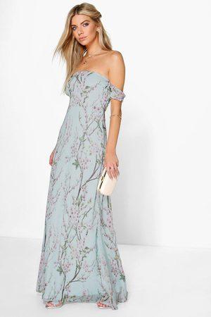 Boohoo Floral Off The Shoulder Maxi Dress- Mint
