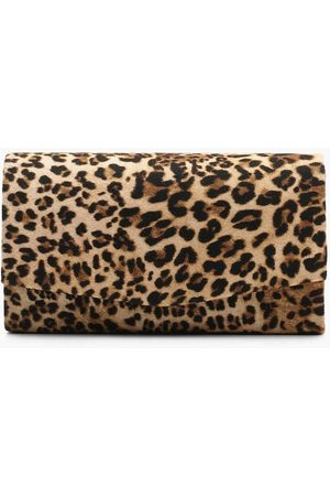 Boohoo Structured Leopard Envelope Clutch Bag & Chain- Natural