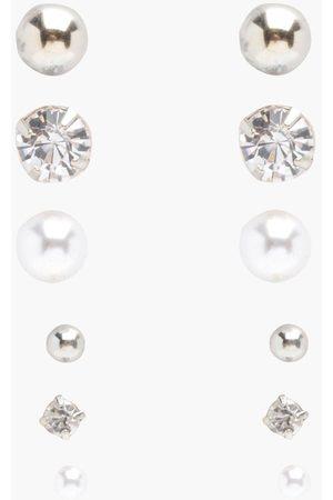 Boohoo Women Jewellery Sets - Diamante And Pearl Stud 6 Pack