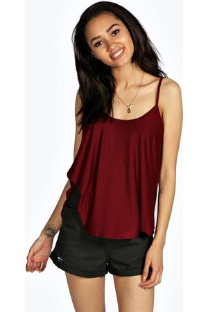 Boohoo Petite Swing Cami Top- Wine