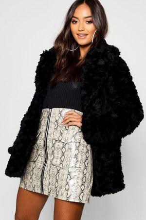 Boohoo Petite Textured Luxe Faux Fur Coat