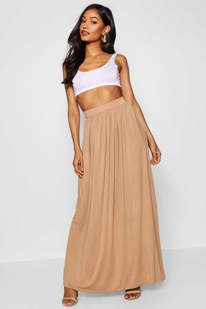 Boohoo Basic Floor Sweeping Jersey Maxi Skirt- Sand