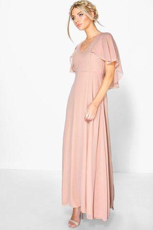 Boohoo Chiffon Cape Sleeve Maxi Bridesmaid Dress- blush