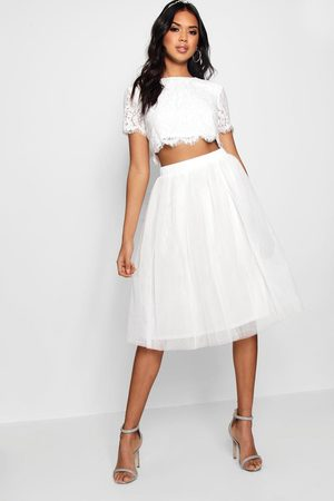 Boohoo Woven Lace Top & Contrast Midi Skirt Co-Ord Set