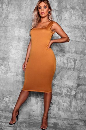Boohoo Plus Longline Square Neck Midi Dress- Mustard