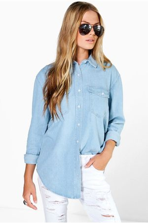 Boohoo Oversize Bleach Wash Denim Shirt