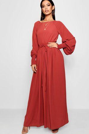 Boohoo Shirred Waist & Cuff Woven Maxi Dress- Brick
