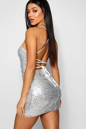 Boohoo Sequin Strappy Back Bodycon Dress