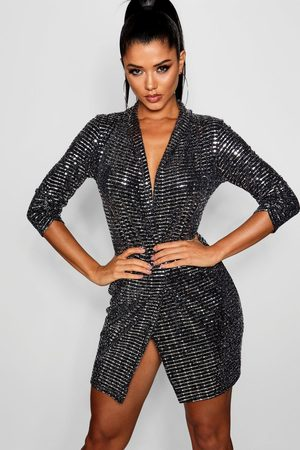 Boohoo Women Bodycon Dresses - Metallic Blazer Mini Bodycon Dress