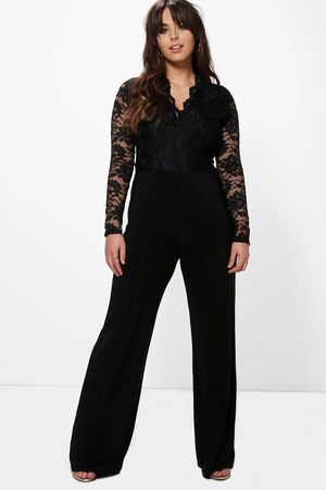 Boohoo Plus Long Sleeve Lace Top Slinky Jumpsuit