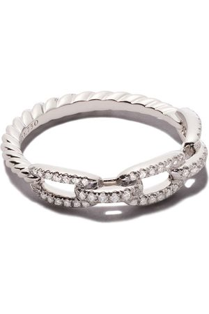 David Yurman Women Bracelets - 18kt white gold Stax single row pavé diamond chain link ring