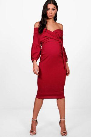 Boohoo Maternity Off The Shoulder Wrap Midi Dress- Berry