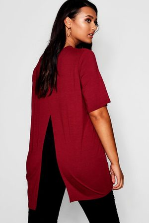 Boohoo Plus Jersey Split Open Back T-Shirt- Wine