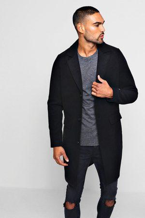 Boohoo Mens Single Breasted Wool Mix Overcoat