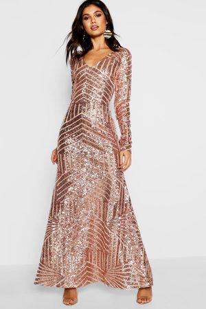 Boohoo Women Maxi Dresses - Boutique Sequin & Mesh Maxi Dress