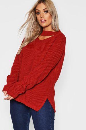 Boohoo Plus Choker Side Split Sweater- Rust