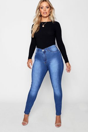 Boohoo Plus Super High Waisted Power Stretch Jeans- Mid