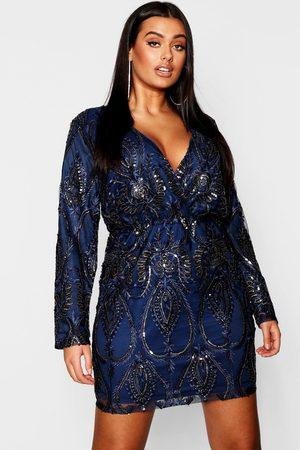 Boohoo Plus Lace & Sequin Plunge Mini Dress- Navy