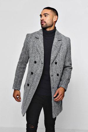 Boohoo Men Trench Coats - Mens Wool Blend Herringbone Double Breasted Overcoat