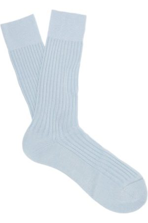 Pantherella Danvers Ribbed Knit Cotton Blend Socks - Mens