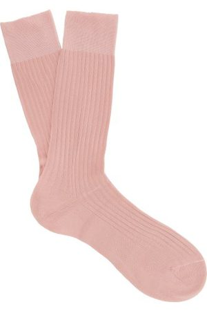 Pantherella Danvers Ribbed-knit Cotton-blend Socks - Mens