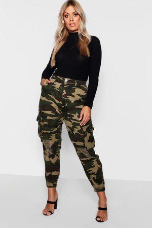 Boohoo Plus Ripped Pocket Denim Camo Cargo Jeans- Khaki