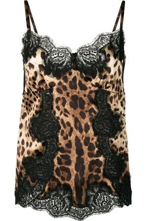 Dolce & Gabbana Women Tank Tops - Lace-detail leopard-print satin top