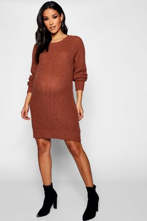 Boohoo Maternity Soft Knit Sweater Dress- Tobacco