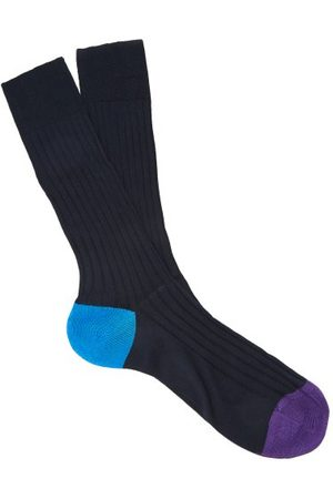 Pantherella Men Socks - Portbello Ribbed Knit Socks - Mens - Navy